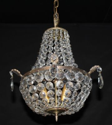 VINTAGE EMPIRE CHANDELIER FRENCH GLASS TENT & BAG CEILING LIGHT - Ref: AJN5